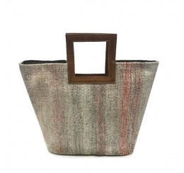 WOVEN CARPET CUT HANDLE TOTE  STAIN RESISTANT FABRIC WITH LEATHER TRIM AND STRAP