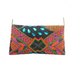 RD100 MULTI COLOR HAND CRAFTED BEADED CLUTCH PEACOCK