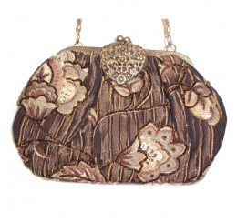 AC623 BROWN VINTAGE TAPESTRY HEART BRASS FRAME BAG