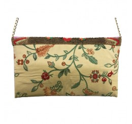 BEADED  FLORAL TAPESTRY MULTI COLOR FLAP OVER CLUTCH