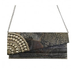 561 EXOTIC SKIN PRINT SLANTED CROSS BODY  CLUTCH