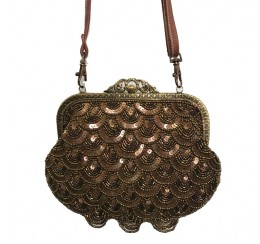 VICTORIAN VINTAGE LEATHER AND SCALLOP SEQUIN BAG