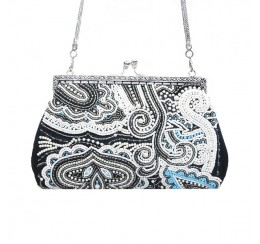 VINTAGE BLACK WHITE BEADED PAISLEY FRAME BAG