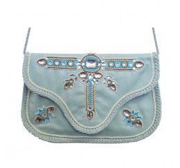 ARF100 GENUINE LEATHER CRYSTAL WORK CROSS BODY CLUTCH