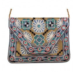 ARF200 HAND CRAFTED EMBROIDERED CROSS BODY CLUTCH