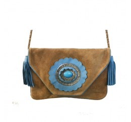 Genuine leather clutch with cross body strap turquoise cutwork flower