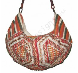 6265 ZIP TOP APPLIQUE WOOD BEADS EMBROIDERED HOBO