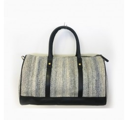 TRAVEL DUFFEL TIPTOP/ WOVEN STAIN RESISTANT FABRIC WITH LEATHER TRIM