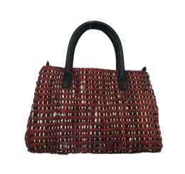 WOVEN RECYCLED LEATHER CARPET TOTE DOUBLE ZIPPER COMPARTMENT