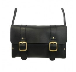 WOOD AND LEATHER FLAP OVER  CROSS BODY BAG