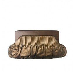 31181 GENUINE LEATHER WOOD FRAME PLEATED CLUTCH